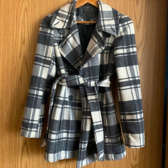 Plaid winter wool coat